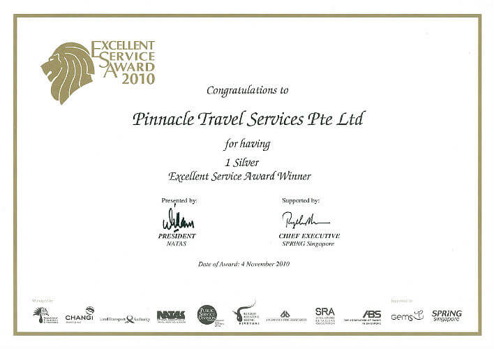 Pinnacle Travel Singapore SG Excellent Service Award
