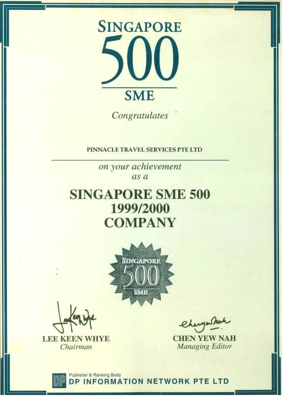 Pinnacle Travel Singapore IAGT certified award