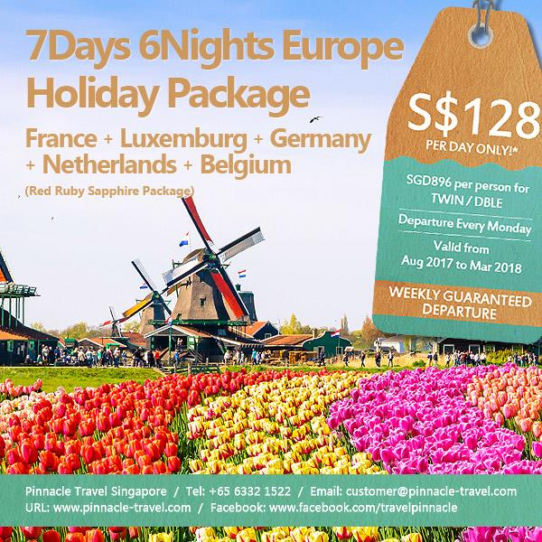 7 Days 6 Nights France Luxemburg Germany Netherlands Belgium Europe holiday tour package from Singapore