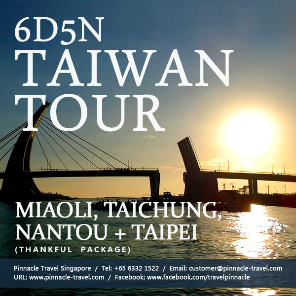 6 Days 5 Nights Miaoli Taichung Nantou Taipei Holiday Tour Packages from Singapore